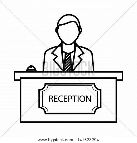 Reception icon in outline style isolated on white background. Receive guests symbol
