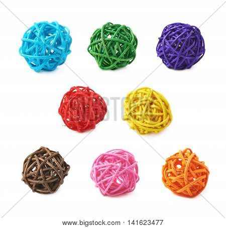 Decorative colored straw ball isolated over the white background, set of multiple different foreshortenings and colors