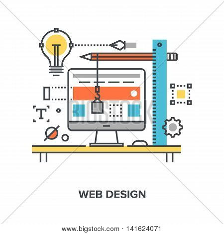 Vector illustration of web design flat line concept.