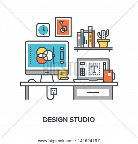 Vector illustration of design studio flat line design concept.