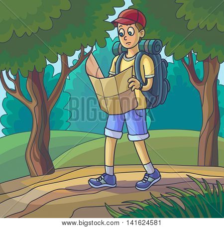 Hiking man. Traveling young man lost or walking in forest looking at map. Vector illustration.