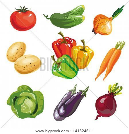 Vegetable set cartoon hand drawn collection. Vector Illustration of tomato and potato, paprika cucumber onion, aubergine eggplant cabbage, carrot. Isolated on white.