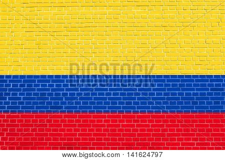 Flag of Colombia on brick wall texture background. Colombian national flag.