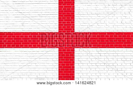 Flag of England Cross of St. George on brick wall texture background. English national flag.