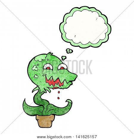 freehand drawn thought bubble textured cartoon monster plant