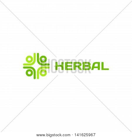 Isolated green color cross on the white background vector logo. Medical sign. Hospital and ambulance logotype. Abstract decorative element. Natural products illustration