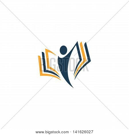Isolated abstract human silhouette with book vector logo. School and university logotype. Education illustration. Studying sign. Student image.Minimalisti symbol