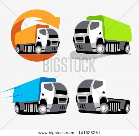 Isolated colorful cargo truck vector logo set. Vehicles collection logotype. Cars group icons. Supply company business emblem. Logistics element.
