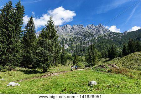 Hiking in the Alps on a sunny day. Wilder Kaiser chain near Wochenbrunner AlmTyrol Austria.