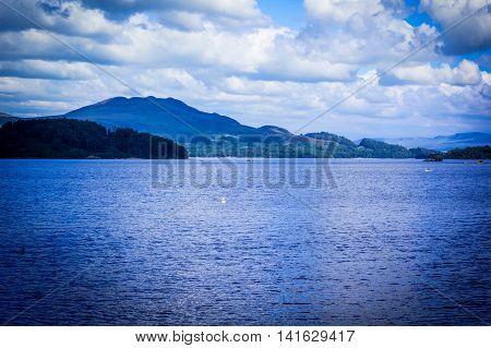 Beautiful landscape of Loch Lomond lake in Luss Argyll&Bute in Scotland UK