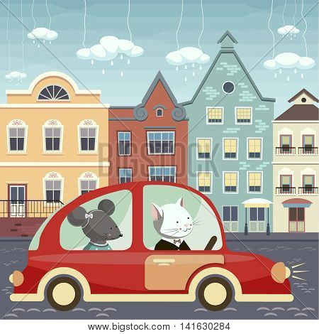 The illustration. The cat and mouse go in the red car on the street is cobbled. Along the street there are houses of different colors. In the sky clouds with rain drops.