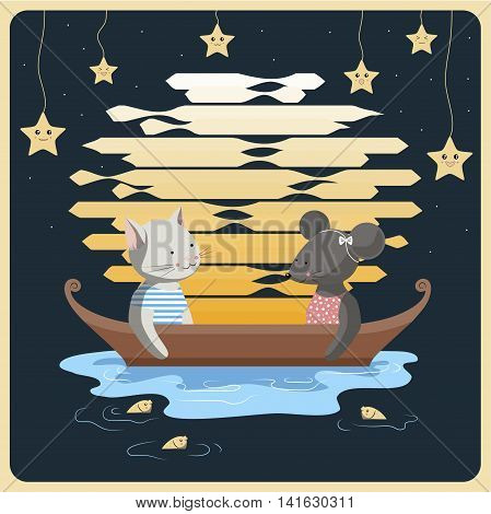 The illustration. The cat and mouse sit at night in a boat on the lake, on the background of a big moon and laughing stars. From the lake to watch them fish.