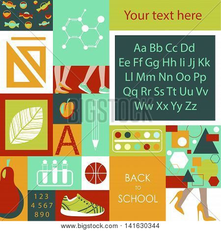 The illustration of back to school. Depicts the alphabet, sneakers, ball, candy,  chemistry, numbers, fruits, colors, rulers, geometric shapes, legs teachers and children going to school.