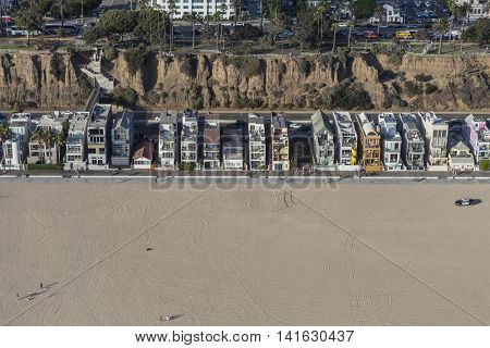 Santa Monica, California, USA - August 6, 2016:  Aerial of eclectic housing along Santa Monica beach near Los Angeles.