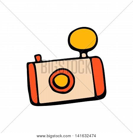 Retro camera icon or vintage camera in style hand draw