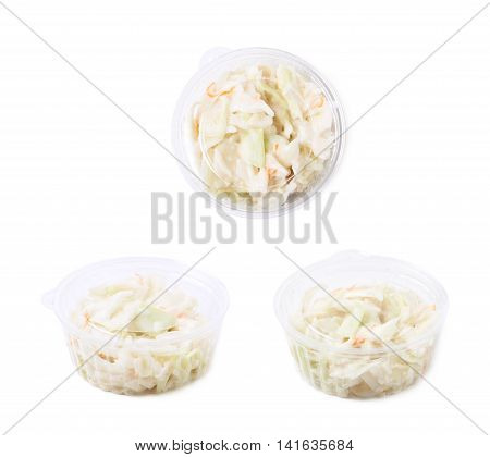Creamy coleslaw salad in a plastic box isolated over the white background, set of three different foreshortenings