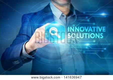 Business, Internet, Technology Concept.businessman Chooses Innovative Solutions Button On A Touch Sc