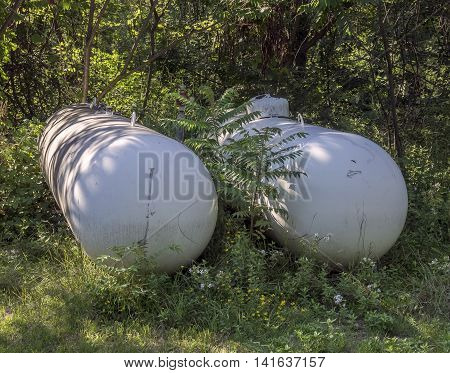 Liquefied petroleum gas tanks in the rural area