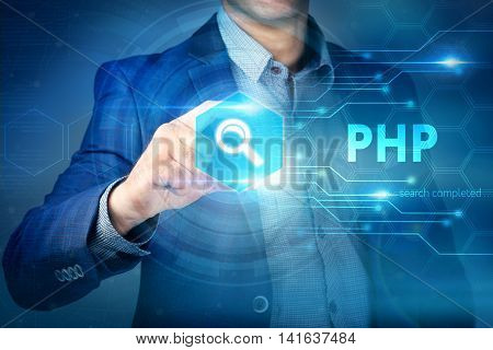 Business, Internet, Technology Concept.businessman Chooses Php Button On A Touch Screen Interface.
