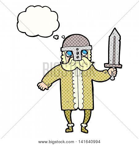 freehand drawn thought bubble cartoon saxon warrior