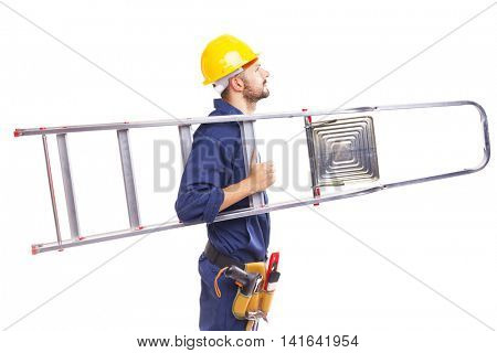 Side view of a worker holding a aluminum stepladder, isolated on white background