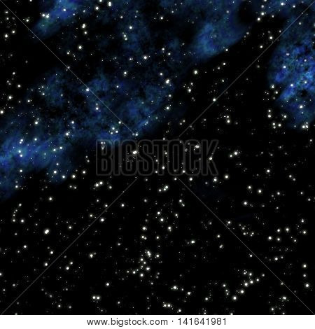 Dark starry cosmic space with blue clouds.