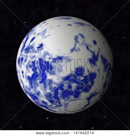 Abstract oceanic planet is blue with white clouds.
