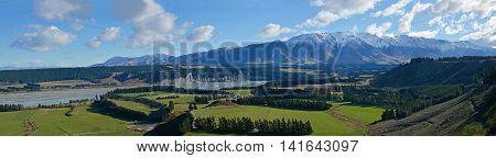 Rakaia Gorge River Valley Panorama in Mid Canterbury New Zealand