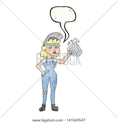 freehand speech bubble textured cartoon hard working woman with beer
