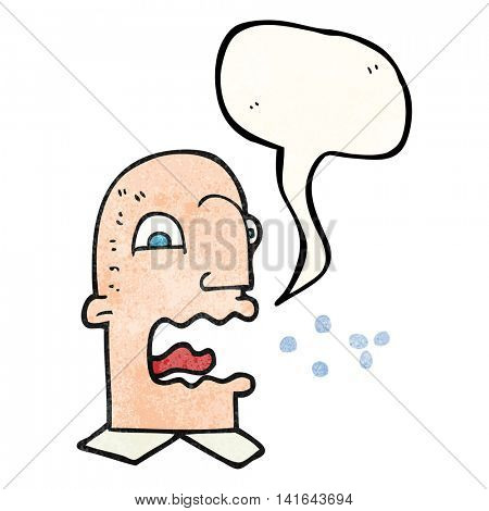 freehand speech bubble textured cartoon burping man