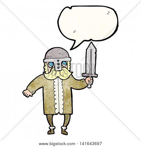 freehand speech bubble textured cartoon saxon warrior