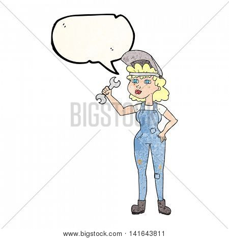 freehand speech bubble textured cartoon woman with spanner