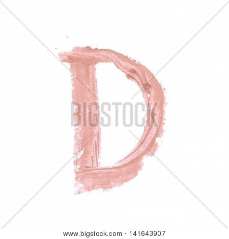 Single abc latin letter D symbol drawn with a wax crayon isolated over the white background