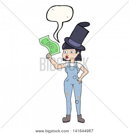 freehand drawn speech bubble cartoon woman holding on to money