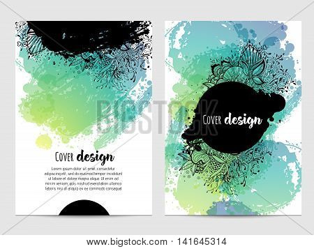 Invitation with hand drawn brush stain. wedding card with abstract ink spots illustration. bright flyer cover.