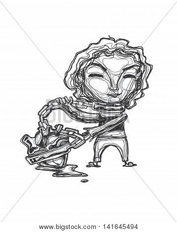 Hand drawn illustration or drawing of a woman with a chained heart
