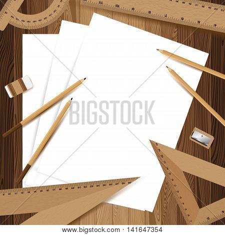 Three white paper with pencil, ruler, eraser and sharpener on lath boards.