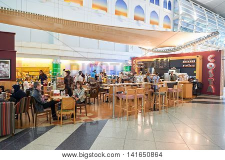 DUBAI, UAE - MARCH 10, 2015: Costa Coffee at Dubai International Airport. Dubai International Airport is the primary airport serving Dubai, United Arab Emirates.