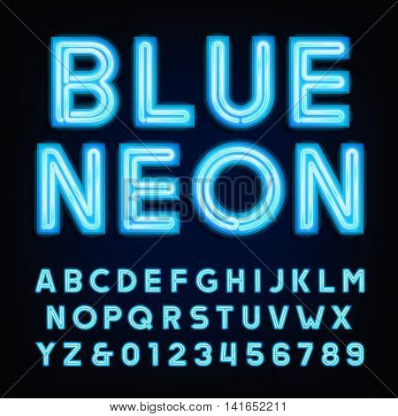 Blue neon tube alphabet font. Type letters and numbers on a dark background. Vector typeface for labels, titles, posters etc.
