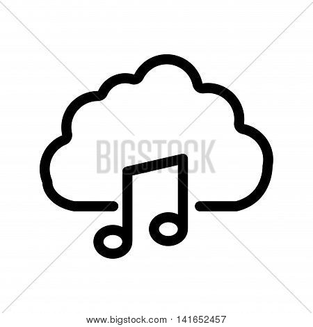 music note cloud melody sound icon. Isolated and flat illustration. Vector graphic