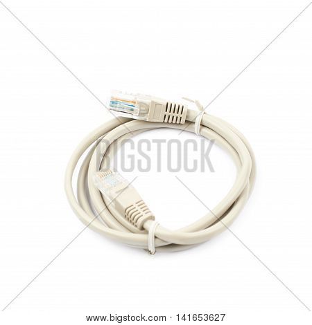 Folded ethernet cable isolated over the white background