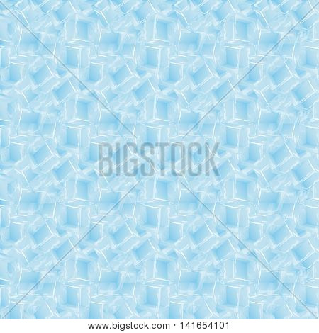 Seamless pattern with ice cubes water decoration frost transparent liquid. Seamless pattern of melted ice cubes with doodle art. Cold abstract crystal ice cube seamless pattern vector.