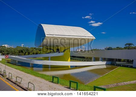 CURITIBA , BRAZIL - MAY 12, 2016: the oscar niemeyer museum focused in architecture, design and visual arts.