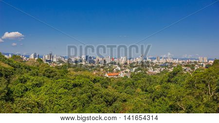 CURITIBA , BRAZIL - MAY 12, 2016: nice panoramic view of the city, blue sky as background.