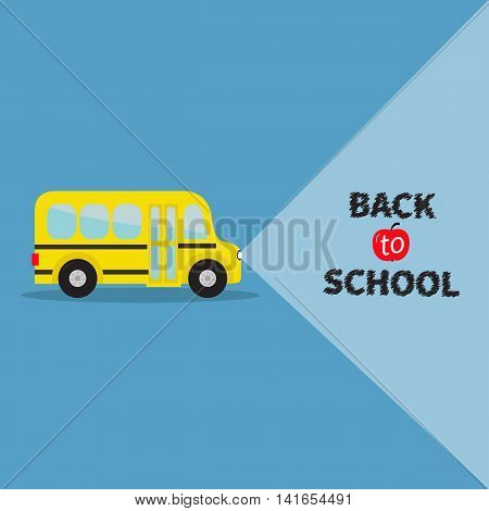 Yellow bus. Transportation. Side view. Back to school. Light from headlights. Greeting card. Flat design. Vector illustration