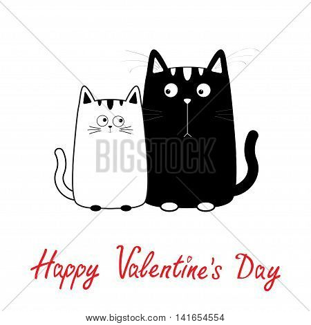 Happy Valentines Day. Cute cartoon black white cat boy and girl family. Kitty couple on date. Big mustache whisker. Funny character set. Love greeting card. Flat design. Isolated. Vector illustration