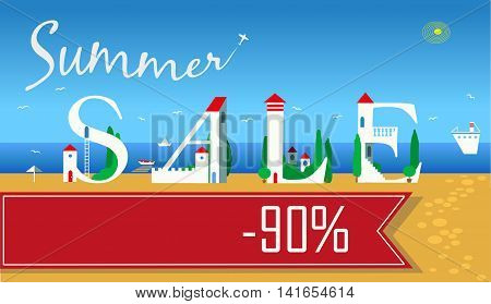 Inscription for retail. Smmer Sale. Ninety percents. Cute white houses on the coast. Plane in the sky. Banner for custom text. illustration