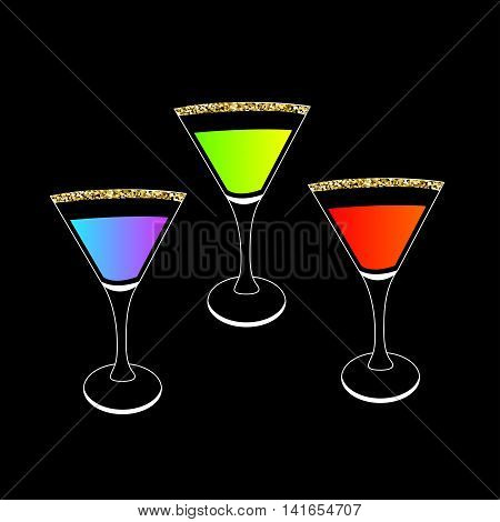 Cocktail set in martini glass. Party card. Glowing drink. Gold sparkles glitter Black background. Vector illustration