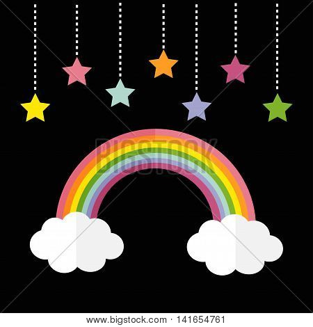 Rainbow and two white clouds. Colorful stars hanging on dash line rope. LGBT sign symbol. Flat design. Black background. Vector illustration.