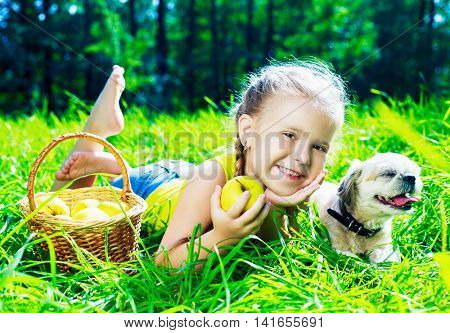 happy girl with a dog having a picnic in the park in summertime